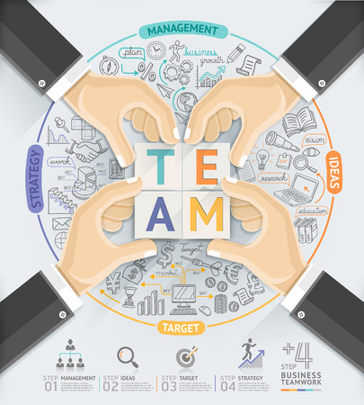 teamwork concept: Business hands teamwork infographics template. Vector illustration. can be used for workflow layout, banner, diagram, number options, step up options, web design, timeline.