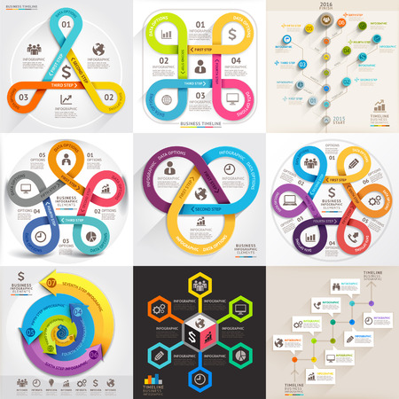 Business infographic template set. Vector illustration. can be used for workflow layout, banner, diagram, number options, web design, timeline elements Vector