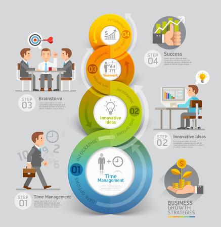 ilustração: Negócios Conceito Crescimento Estratégias. Ilustração do vetor. Pode ser usado para o layout de fluxo de trabalho, banner, diagrama, opções de número, intensificar opções, web design, linha do tempo, modelo infográfico