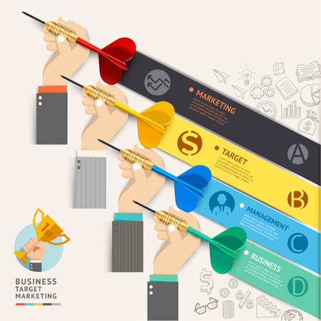 Business target marketing concept. Businessman hand with dart and doodles icons. Vector illustration. Can be used for workflow layout, banner, diagram, number options, web design, infographic template, timeline. Vector