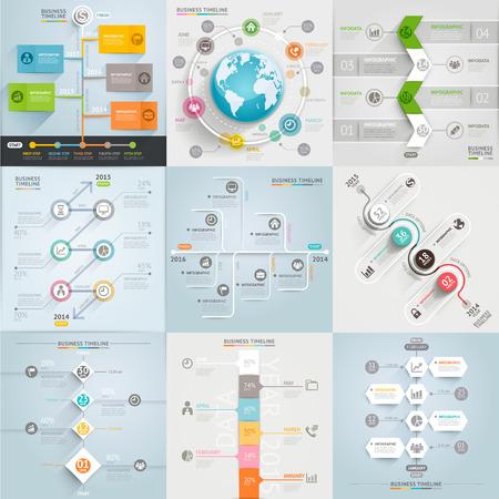 Affari temporale elementi del modello. Illustrazione vettoriale. può essere utilizzato per il layout del flusso di lavoro, banner, schema, opzioni numero, web design, modello infografica Vettoriali