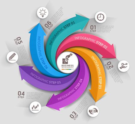 flechas: Flecha de la plantilla de negocios moderno. Ilustraci�n del vector. Puede ser utilizado para el dise�o del flujo de trabajo, diagrama, opciones de n�mero, dise�o web, infograf�a y l�nea de tiempo.