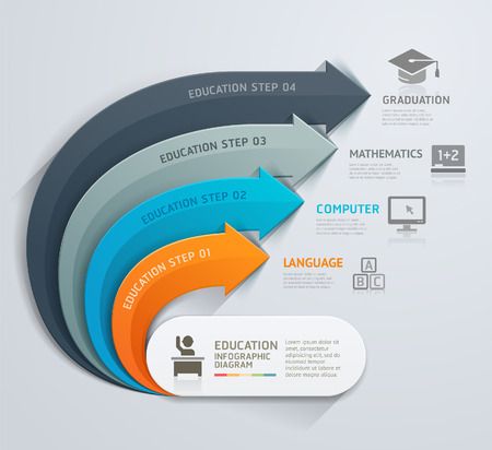 Modern arrow education template. Vector illustration. Can be used for workflow layout, diagram, number options, web design, infographics and timeline. Illustration