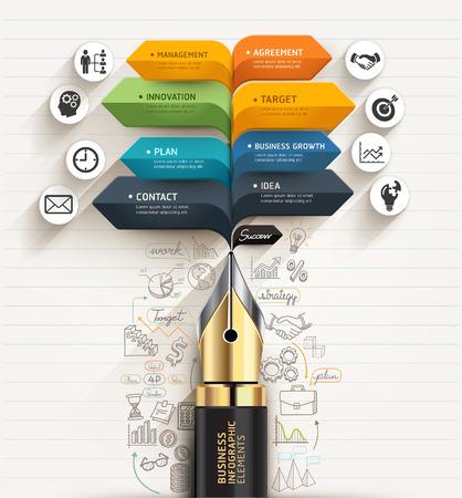 rotulador: Concepto de negocio. Pluma y forma de burbuja plantilla flecha. se puede utilizar para el diseño de flujo de trabajo, diagrama, opciones numéricas, intensificar opciones, diseño web, plantilla de banner, infográficos.