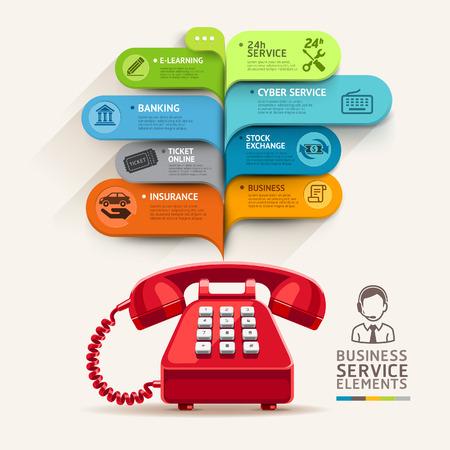 Iconos del servicio de negocios y teléfono con la plantilla de burbuja. se puede utilizar para el diseño de flujo de trabajo, diagrama, opciones numéricas, intensificar opciones, diseño web, plantilla de banner, infografías.
