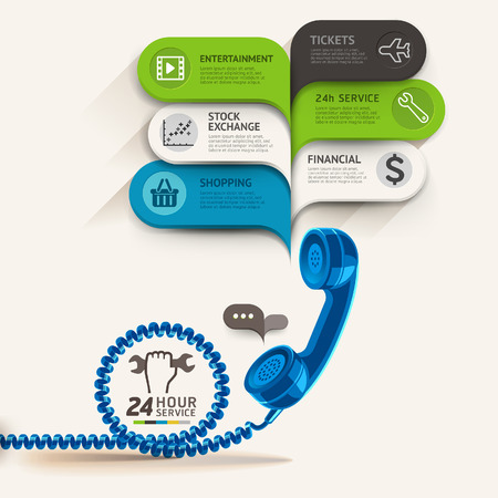 old center: Business service icons and telephone with bubble speech template. can be used for workflow layout, diagram, number options, step up options, web design, banner template, infographics.
