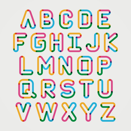Alphabet line transparent color font style. Vector illustration.