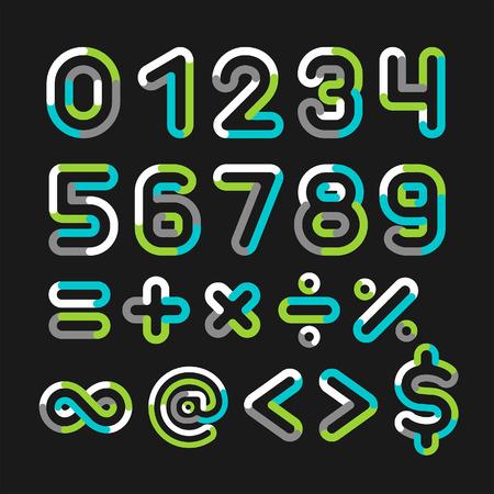 Alphabet line transparent color font style. Vector illustration. Vector