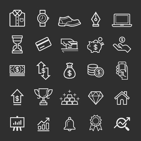 icônes d'éléments d'affaires. Vector illustration Illustration