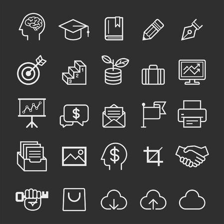 reflexionando: Iconos de la educaci�n de negocios. Ilustraci�n vectorial Vectores