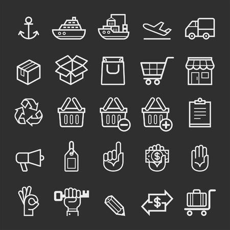 carro supermercado: Iconos del elemento de transporte para empresas. Ilustración vectorial