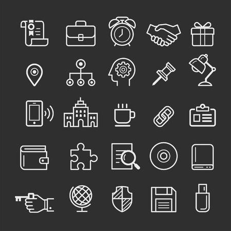 lien: icônes d'éléments d'affaires. Vector illustration Illustration