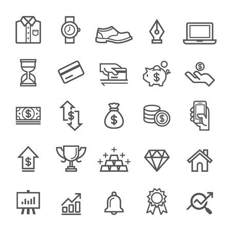 dessin au trait: icônes d'éléments d'affaires. Vector illustration Illustration