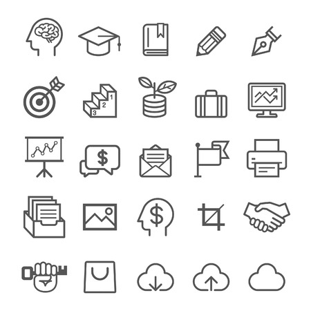 illustration line art: Business education icons. Vector illustration