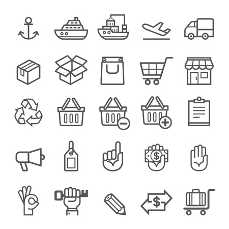 ship parcel: Business transportation element icons. Vector illustration