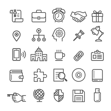 usb storage device: Business element icons. Vector illustration