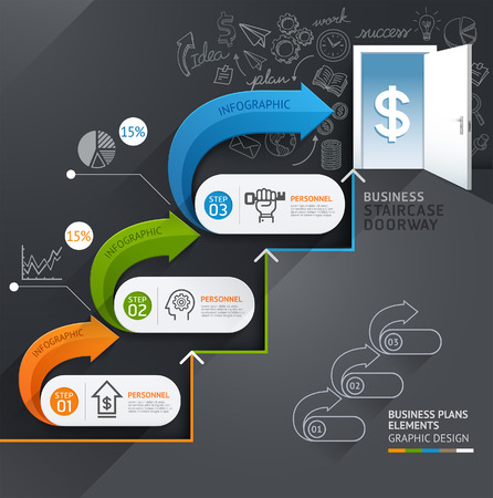 step up: Business staircase doorway conceptual infographics. Vector illustration. Can be used for workflow layout, banner, number options, step up options, web design, diagram, timeline. Illustration