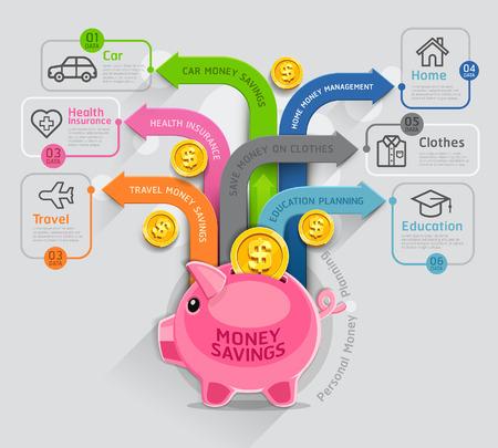 banco dinero: Dinero de Planificaci�n Personal plantilla infograf�a. Ilustraci�n del vector. Puede ser utilizado para el dise�o del flujo de trabajo, bandera, diagrama, opciones de n�mero, dise�o de p�ginas web, la l�nea de tiempo. Vectores
