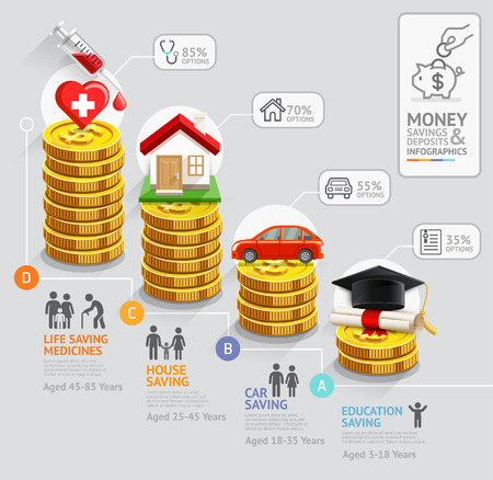 economía: Dinero Personal ahorro plantilla infograf�a planificaci�n. Las monedas de oro de la pila de dinero. Ilustraci�n del vector. Puede ser utilizado para el dise�o del flujo de trabajo, bandera, diagrama, opciones de n�mero, dise�o de p�ginas web, la l�nea de tiempo.