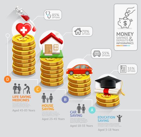 monete antiche: Risparmio infografica pianificazione template soldi personali. Monete d'oro pila soldi. Illustrazione vettoriale. Pu� essere utilizzato per il layout del flusso di lavoro, banner, schema, opzioni numero, web design, timeline.