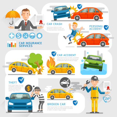 fire car: Car insurance business character and icons template. Vector illustration. Can be used for workflow layout, banner, diagram, number options, web design, timeline, infographics.