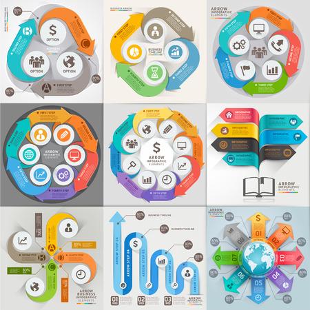 button computer: Flechas comercializaci�n del negocio plantilla de infograf�a. Ilustraci�n del vector. se puede utilizar para el dise�o de flujo de trabajo, bandera, diagrama, opciones de n�mero, dise�o de p�ginas web, los elementos de l�nea de tiempo.