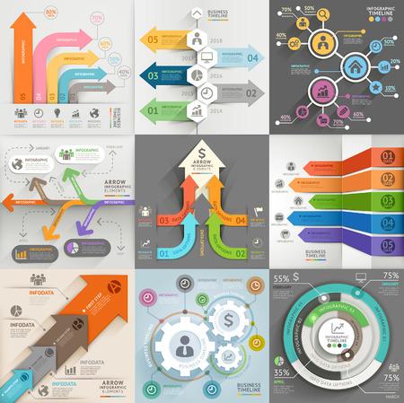 diagrama: Flechas comercializaci�n del negocio plantilla de infograf�a. Ilustraci�n del vector. se puede utilizar para el dise�o de flujo de trabajo, bandera, diagrama, opciones de n�mero, dise�o de p�ginas web, los elementos de l�nea de tiempo.