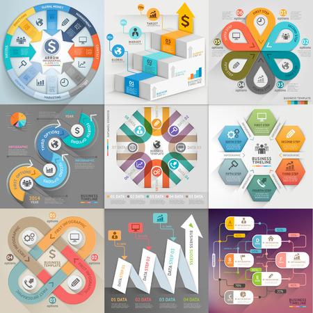 비즈니스 인포 그래픽 템플릿을 설정합니다. 벡터 일러스트 레이 션. 워크 플로우 레이아웃, 배너, 다이어그램, 숫자 옵션, 웹 디자인, 타임 라인 요소 일러스트