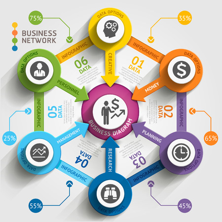 computer network diagram: Business marketing infographic template. Vector illustration. Can be used for workflow layout, banner, diagram, number options, web design, timeline elements.