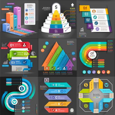 gráfico: Negócios set modelo infográfico. Ilustração do vetor. pode ser usado para o layout de fluxo de trabalho, banner, diagrama, opções de número, web design, elementos de linha de tempo