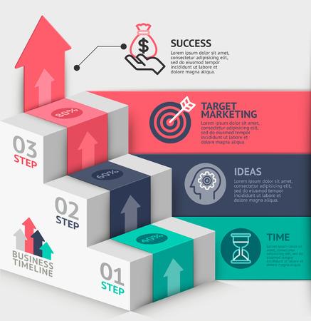 exito: Plantilla de diagrama de escalera de negocios 3d. Ilustración del vector. se puede utilizar para el diseño de flujo de trabajo, bandera, opciones numéricas, intensificar opciones, diseño web, infografía, plantilla línea de tiempo.