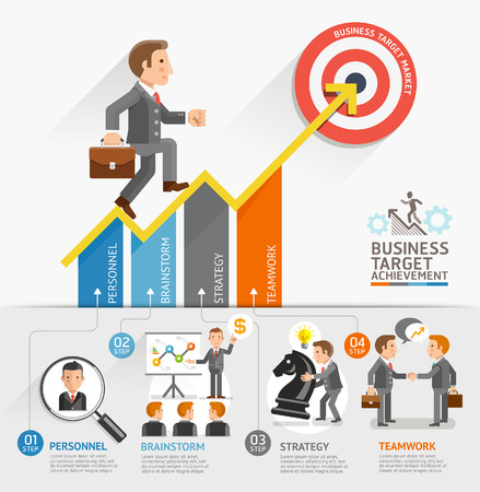young businessman: Business Growth Arrow Strategies Concept. Businessman walking on arrow. Vector illustration. Can be used for workflow layout, banner, diagram, number options, step up options, web design, timeline, infographic template. Illustration
