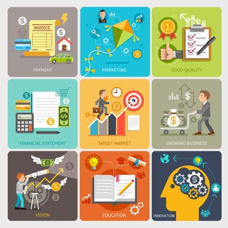 innovacion: Iconos planos concepto de diseño de la plantilla. Ilustración del vector. Puede ser utilizado para el diseño del flujo de trabajo, bandera, diagrama, opciones numéricas, diseño web, línea de tiempo, la infografía.