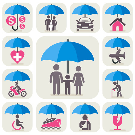 Conjunto de ícones de seguro de guarda-chuva. Ilustração vetorial. Ilustración de vector