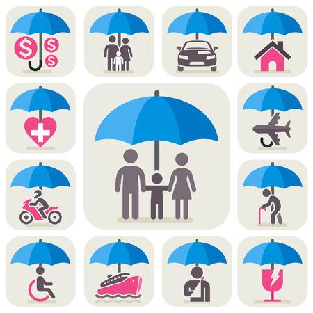 gezondheid: Umbrella verzekering iconen set. Vector Illustratie.