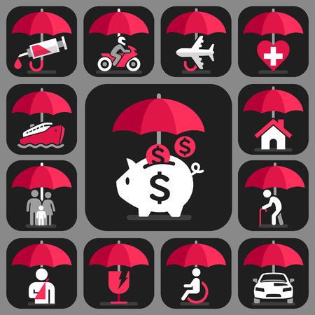 salute: Icone di assicurazione Umbrella impostate. Illustrazione vettoriale.