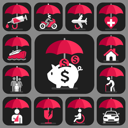 Umbrella verzekering iconen set. Vector Illustratie.