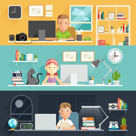 ufficio aziendale: Business persone che lavorano su una scrivania. Illustrazione vettoriale.