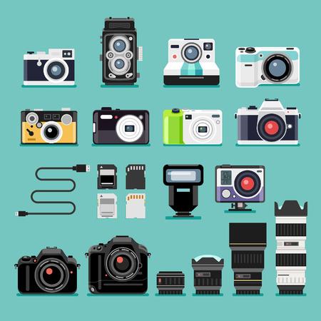 Macchina fotografica: Icone piane della fotocamera. Illustrazione vettoriale.