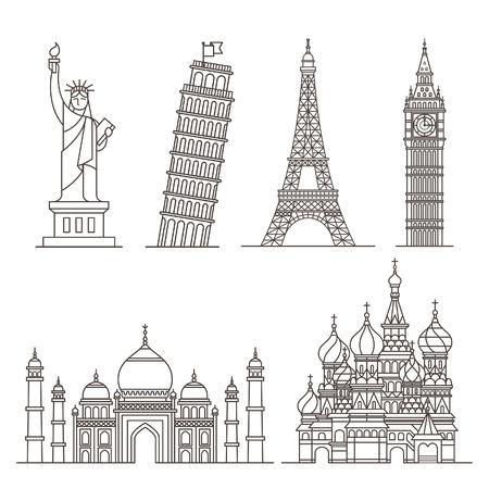 Icônes Landmark. Illustration