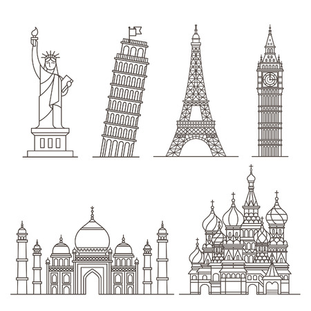illustration line art: Landmark icons.