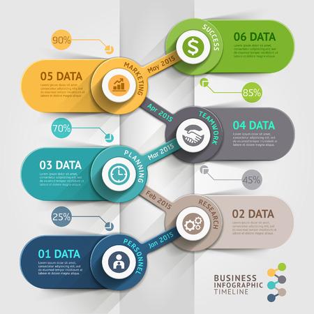 entreprise: chronologie d'affaires de modèle infographique.