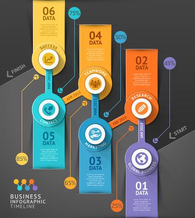bannière business: chronologie d'affaires de mod�le infographique. .