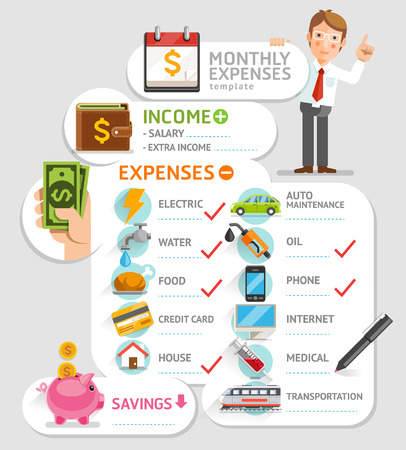 be: Monthly expenses template. Vector illustration. Can be used for workflow layout, banner, diagram, number options, web design, infographics, timeline.