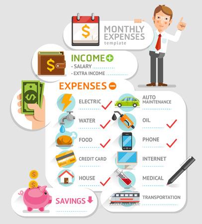 ingresos: Plantilla de los gastos mensuales. Ilustración del vector. Puede ser utilizado para el diseño del flujo de trabajo, bandera, diagrama, opciones numéricas, diseño web, infografía, línea de tiempo.