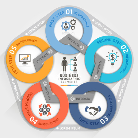 step up: Business management circle origami style options banner. Vector illustration. can be used for workflow layout, diagram, number options, step up options, web design, infographics.