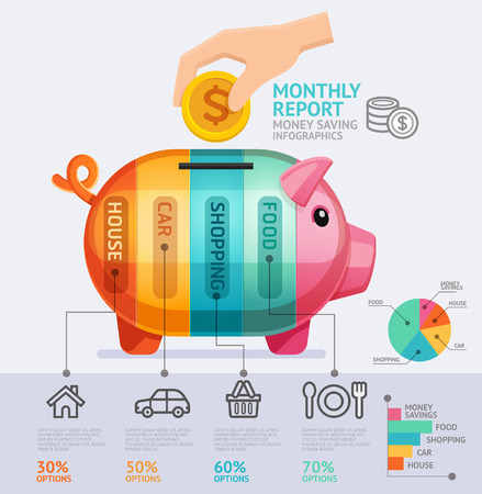 piggies: Money Saving Monthly Report Infographics Template. Vector Illustration. Can Be Used For Workflow Layout, Banner, Diagram, Number Options, Web Design