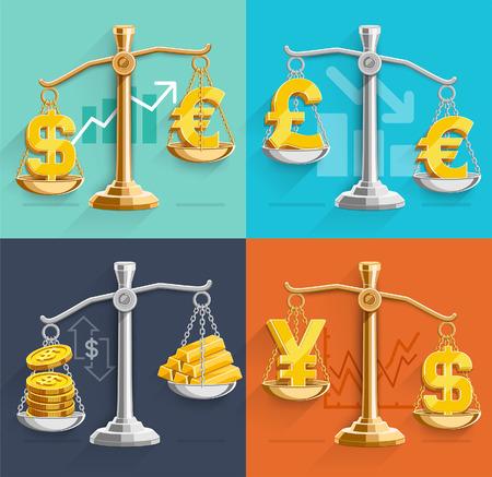 balanza justicia: Dinero firmar iconos y barras de oro en las escalas. Ilustraciones del vector. Vectores