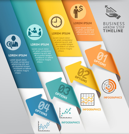 cover background time: Abstract arrow infographics template. Vector illustration. can be used for workflow layout, diagram, number options, business step options, banner, web design Illustration