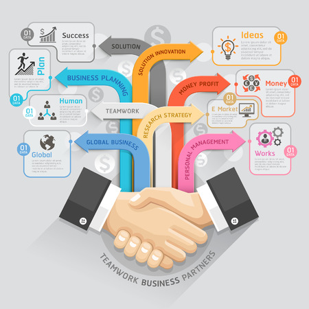 handshake: Teamwork business partners diagram template. Vector illustration. can be used for workflow layout, banner, number options, step up options, web design, infographics, timeline template.